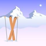 Illustrazione delle montagne e degli sci nevosi Illustrazione Vettoriale