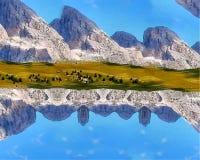 Illustrazione delle montagne, terra, cielo, astrazione liquida, astrazione liquida delle montagne, astrazione liquida del cielo fotografia stock libera da diritti