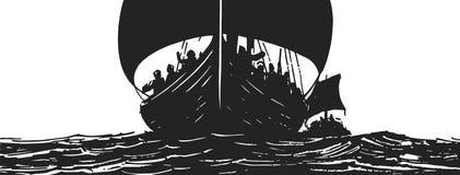 Illustrazione delle navi di vichingo che traversano sul mare royalty illustrazione gratis