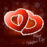 Illustrazione delle paia del cuore del biglietto di S. Valentino su fondo astratto illustrazione vettoriale