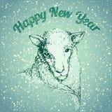 Illustrazione delle pecore con il fiocco di neve Immagine Stock Libera da Diritti