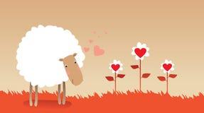 Illustrazione delle pecore romantiche Fotografia Stock