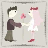 Illustrazione delle persone appena sposate Illustrazione Vettoriale