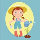 Illustrazione delle piante di innaffiatura della ragazza royalty illustrazione gratis