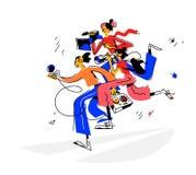 Illustrazione delle ragazze dei giornalisti con un microfono ed il video, macchine fotografiche Vettore Tre ragazze nel retro sti illustrazione vettoriale