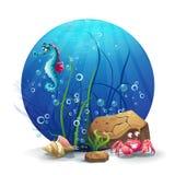 Illustrazione delle rocce subacquee con l'ippocampo ed il granchio Fotografia Stock