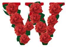 Illustrazione delle rose rosse della lettera W Immagine Stock Libera da Diritti
