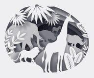Illustrazione delle siluette degli animali africani fatti di carta illustrazione di stock