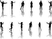 Illustrazione delle siluette della gente Fotografia Stock Libera da Diritti