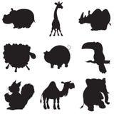 Illustrazione delle siluette di animazione degli animali Fotografia Stock Libera da Diritti