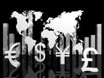 Illustrazione delle valute commerciali intorno al mondo Fotografia Stock Libera da Diritti