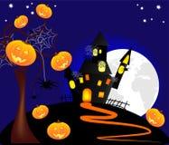 Illustrazione delle zucche di Halloween con un castello a Fotografie Stock