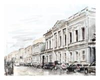 Illustrazione dello scape della città Fotografie Stock Libere da Diritti
