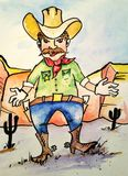 Illustrazione dello sceriffo del cowboy Immagine Stock