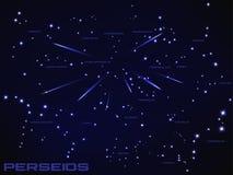 Illustrazione dello sciame meteorico dei perseids Fotografia Stock