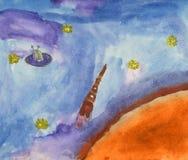 Illustrazione dello spazio. Immagini Stock