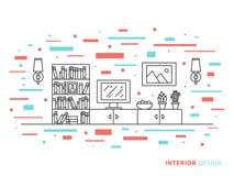 Illustrazione dello spazio moderno dell'interno del salone del progettista Immagine Stock