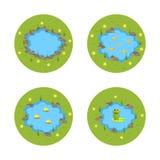 Illustrazione dello stagno del giardino di vettore del fumetto con acqua, le piante e gli animali Fotografia Stock