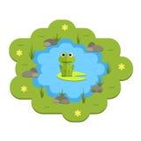 Illustrazione dello stagno del giardino di vettore del fumetto con acqua, le piante e gli animali Fotografie Stock Libere da Diritti
