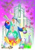 Illustrazione dello stregone che fa alchemia illustrazione vettoriale
