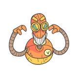 Illustrazione descritta fumetto arancio diabolico arrabbiato del robot con Android sveglio e le sue emozioni Immagine Stock