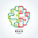 Illustrazione destra e sinistra di funzione del cervello illustrazione di stock