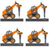 Illustrazione dettagliata dell'automobile con il martello Il mini escavatore con la posizione differente dell'asta distrugge l'as Fotografia Stock