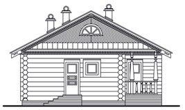Illustrazione dettagliata della facciata di legno di sauna illustrazione vettoriale