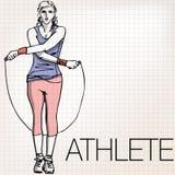 Illustrazione di addestramento della donna con la corda di salto Immagini Stock