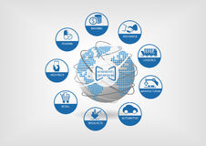 Illustrazione di affari di Digital Le icone delle industrie digitali globali gradiscono contare, assicurazione, logistica Fotografia Stock Libera da Diritti