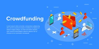 Illustrazione di affari di vettore di Crowdfunding nella progettazione isometrica C royalty illustrazione gratis