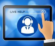 Illustrazione di aiuto 3d di Live Help Tablet Representing Immediate Fotografia Stock Libera da Diritti