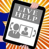 Illustrazione di aiuto 3d di Live Help Tablet Shows Immediate Immagine Stock Libera da Diritti