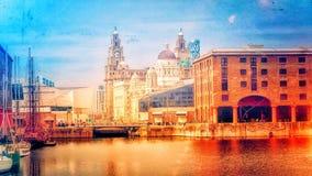 Illustrazione di Albert Dock, Liverpool, Regno Unito Fotografia Stock Libera da Diritti
