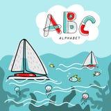 Illustrazione di alfabeto del libro della copertura del fumetto di vettore Immagini Stock Libere da Diritti