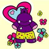 Illustrazione di amore di vettore dell'ippopotamo Immagine Stock Libera da Diritti
