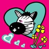 Illustrazione di amore di vettore della zebra Fotografie Stock