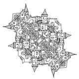 Illustrazione di arte di zen di vettore città del profilo Immagine Stock