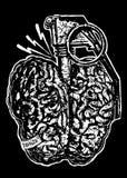 Illustrazione di arte di progettazione del cervello del pericolo illustrazione di stock