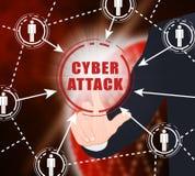 Illustrazione di attacco cyber doloso dell'incisione di Cyberattack 2d Immagine Stock Libera da Diritti