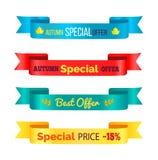 Illustrazione di Autumn Special Offer Ribbons Vector Illustrazione Vettoriale