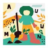Illustrazione di autunno Illustrazione di vettore dell'agricoltore con una pala illustrazione di stock