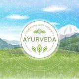 Illustrazione di Ayurveda con il paesaggio delle montagne Fotografia Stock