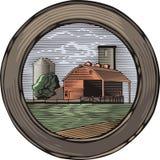 Illustrazione di azienda agricola e di Countrylife nello stile dell'intaglio in legno Immagini Stock