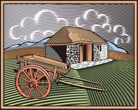 Illustrazione di azienda agricola e di Countrylife nello stile dell'intaglio in legno Immagini Stock Libere da Diritti