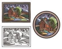 Illustrazione di azienda agricola e di Countrylife nello stile dell'intaglio in legno Fotografia Stock
