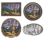 Illustrazione di azienda agricola e di Countrylife nello stile dell'intaglio in legno Fotografia Stock Libera da Diritti