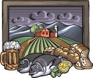Illustrazione di azienda agricola e di Countrylife nello stile dell'intaglio in legno Fotografie Stock Libere da Diritti