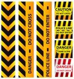 Illustrazione di base dei nastri, del giallo e del nero di sicurezza della polizia Fotografie Stock