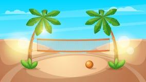Illustrazione di beach volley Paesaggio del fumetto Immagine Stock